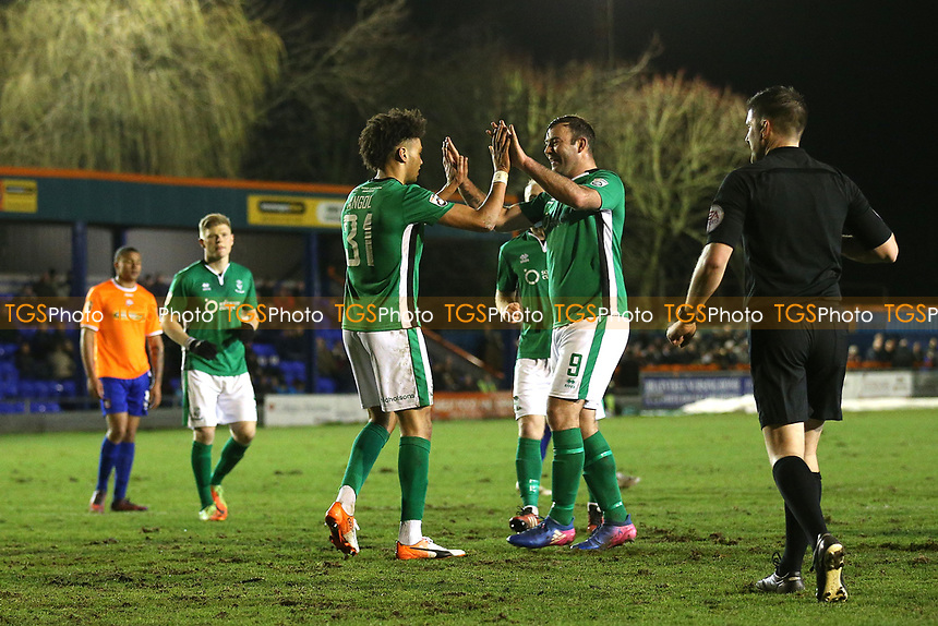 Lee Angol of Lincoln City scores the third goal for his team and celebrates during Braintree Town vs Lincoln City, Vanarama National League Football at the IronmongeryDirect Stadium on 7th March 2017