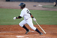 Tampa Yankees outfielder Zoilo Almonte #46 at bat during a game against the Clearwater Threshers at Steinbrenner Field on June 22, 2011 in Tampa, Florida.  The game was suspended due to rain in the 10th inning with a score of 2-2.  (Mike Janes/Four Seam Images)