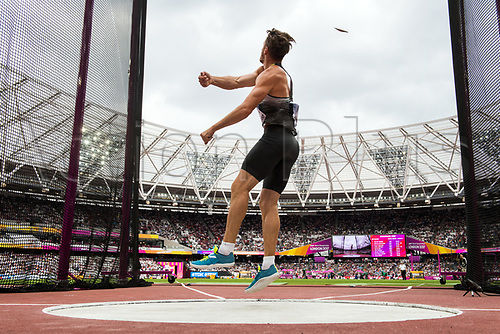 August 12th 2017, London Stadium, East London, England; IAAF World Championships, Day 9;  German athlete Rico Freimuth in action during the men's decathlon discus event at the IAAF World Championships in London, UK, 12August 2017.