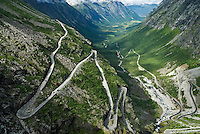 The winding trollstigen road and Rauma valley, Norway