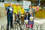 l-r  John Roche, Ellie May Riordan, Daisy Riordan, Ann Riordan and Breda Riordan supporting Liam Gowan with his stationary cycle in aid of the Hospice Foundation in Manor West Shopping Centre on Sunday