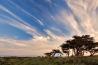 Point Pinos Lighthouse with steaking clouds. Pacific Grove, California