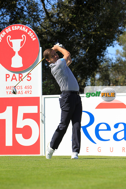Robert Rock (ENG) on the 15th tee during Thursday's Round 1 of The Open De Espana at The PGA Catalunya Resort. 15th May 2014.<br /> Picture:  Thos Caffrey / www.golffile.ie