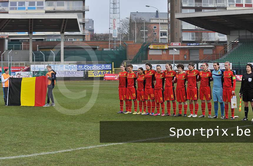 Belgium U19 - Switzerland U19 : Belgian Team line up.foto DAVID CATRY / Nikonpro.be