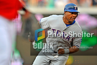 21 June 2008: Texas Rangers' right fielder Marlon Byrd rounds third base and heads home to score in the first inning against the Washington Nationals at Nationals Park in Washington, DC. The Rangers defeated the Nationals 13-3 in the second game of their 3-game inter-league series...Mandatory Photo Credit: Ed Wolfstein Photo