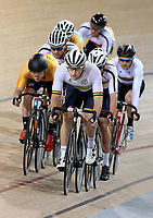 Dylan Kennett out front of the Elite Men Omnium 4, Points Race 25km, at the Age Group Track National Championships, Avantidrome, Home of Cycling, Cambridge, New Zealand, Saturday, March 18, 2017. Mandatory Credit: © Dianne Manson/CyclingNZ  **NO ARCHIVING**