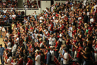 8 October 2005: Fans during Stanford's 3-1 loss to Washington at Maples Pavilion in Stanford, CA.