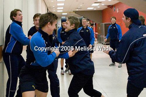 Joakim Andersson (Sweden - 18), Victor Hedman (Sweden - 4), Mikael Backlund (Sweden - 22), Oscar Möller (Sweden - 9), Erik Karlsson (Sweden - 5), Nichlas Torp (Sweden - 6), Mattias Tedenby (Sweden - 10), David Ullström (Sweden - 24), ? - Team Sweden warmed up on Monday, December 29, 2008, at the Ottawa Civic Centre Arena in Ottawa, Ontario, during the 2009 World Junior Championship prior to their game against Latvia.