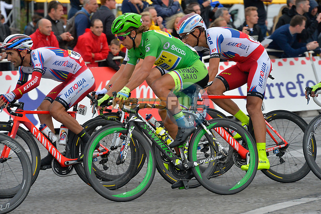 Green Jersey Peter Sagan (SVK) Tinkoff-Saxo in action on the Champs Elysees in Paris during Stage 21 of the 2015 Tour de France running 109.5km from Sevres to Paris - Champs Elysees, France. 26th July 2015.<br /> Photo: ASO/B.Bade/Newsfile