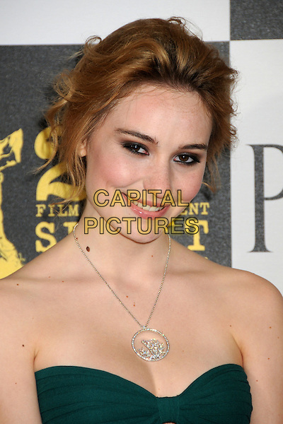 DEBORAH FRANCOIS .25th Annual Film Independent Spirit Awards - Arrivals held at the Nokia Event Deck at L.A. Live, Los Angeles, CA, USA, 5th March 2010..indie arrivals portrait headshot necklace  strapless green .CAP/ADM/BP.©Byron Purvis/AdMedia/Capital Pictures.
