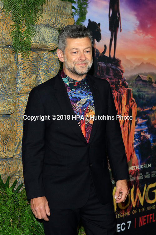 "LOS ANGELES - NOV 28:  Andy Serkis at the ""Mowgli: Legend of the Jungle"" Premiere at the ArcLight Theater on November 28, 2018 in Los Angeles, CA"