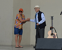WEST PALM BEACH FL - NOVEMBER 3: Jimmy Buffett and Norman Lear during the Bring It Home campaign rally at Meyer Amphitheater on November 3, 2018 in West Palm Beach, Florida. <br /> CAP/MPI04<br /> &copy;MPI04/Capital Pictures