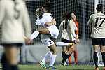 21 November 2014: North Carolina's Maya Worth (5) celebrates her game-winning goal with Emily Bruder (2). The University of North Carolina Tar Heels hosted the University of Colorado Buffaloes at Fetzer Field in Chapel Hill, NC in a 2014 NCAA Division I Women's Soccer Tournament Second Round match. UNC won the game 1-0 in overtime.