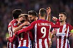 Antoine Griezmann of Atletico de Madrid celebrates with Yannick Ferreira Carrasco and other teammates during their 2016-17 UEFA Champions League match between Atletico Madrid and FC Rostov at the Vicente Calderon Stadium on 01 November 2016 in Madrid, Spain. Photo by Diego Gonzalez Souto / Power Sport Images