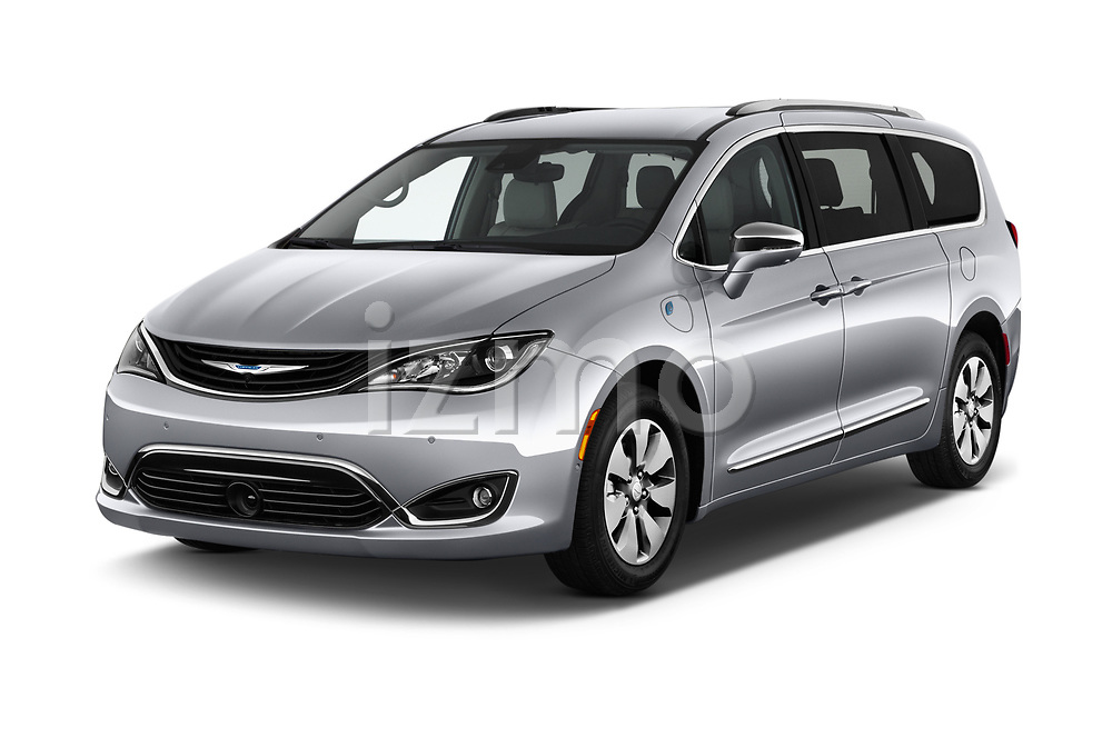 2018 Chrysler Pacifica Hybrid Limited 5 Door Mini Van angular front stock photos of front three quarter view