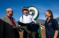 ARCADIA, CA - FEBRUARY 04: Jockey Drayden Van Dyke weighs out after winning the Las Virgines Stakes at Santa Anita Park on February 4, 2018 in Arcadia, California. (Photo by Alex Evers/Eclipse Sportswire/Getty Images)
