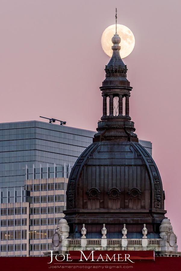 November full moon over the  basilica of Saint Mary in Minneapolis, Minnesota.