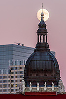 November full moon over the  basilica of Saint Mary in Minneapolis, Minnesota.