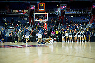 Washington, DC - MAR 7, 2018: La Salle Explorers guard Pookie Powell (0) sits on the court after missing a potential game wining shot after game between La Salle and UMass during first round action of the Atlantic 10 Basketball Tournament at the Capital One Arena in Washington, DC. (Photo by Phil Peters/Media Images International)