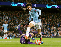 Manchester City's Leroy Sane skips over FC Schalke 04's Ralf Fahrmann but his resulting goal is disallowed for offside<br /> <br /> Photographer Rich Linley/CameraSport<br /> <br /> UEFA Champions League Round of 16 Second Leg - Manchester City v FC Schalke 04 - Tuesday 12th March 2019 - The Etihad - Manchester<br />  <br /> World Copyright © 2018 CameraSport. All rights reserved. 43 Linden Ave. Countesthorpe. Leicester. England. LE8 5PG - Tel: +44 (0) 116 277 4147 - admin@camerasport.com - www.camerasport.com