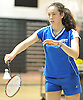 Megan Maley of Port Washington serves during the Nassau County varsity girls badminton doubles final at Bellmore JFK High School on Saturday, May 14, 2016. She and doubles partner Mia Froccaro finished as runners up to Rachel Polansky and Stephanie Tavel of East Meadow.