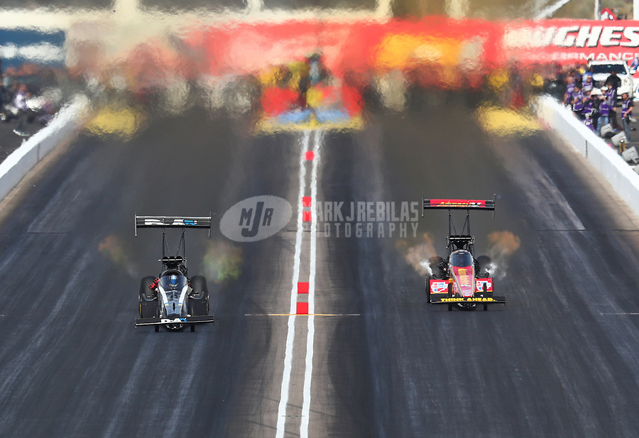 Feb 24, 2019; Chandler, AZ, USA; NHRA top fuel driver Jordan Vandergriff (left) defeats Brittany Force during the Arizona Nationals at Wild Horse Pass Motorsports Park. Mandatory Credit: Mark J. Rebilas-USA TODAY Sports