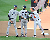 Baltimore, MD - April 6, 2009 -- Baltimore Oriole manager Dave Trembley (47) shakes hands with New York Yankee shortstop Derek Jeter (2) during the player introductions on Opening Day against the Baltimore Orioles at Oriole Park at Camden Yards in Baltimore, MD on Monday, April 6, 2009..Credit: Ron Sachs / CNP.(RESTRICTION: NO New York or New Jersey Newspapers or newspapers within a 75 mile radius of New York City)