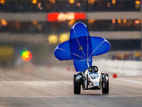 Jul 8, 2017; Joliet, IL, USA; NHRA jet dragster driver of Al Zakaukus deploys his parachute lifting the front end of the dragster during qualifying for the Route 66 Nationals at Route 66 Raceway. Mandatory Credit: Mark J. Rebilas-USA TODAY Sports