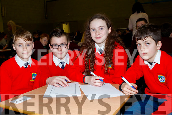 L-R Darragh O Fuaráin, Charlie Fitzgerald, Ava Cronin and Jack O'Sullivan from Bouleenshere NS, taking part in the Clanmaurice Credit Union sponsored quiz last Sunday in Causeway Comprehensive school.