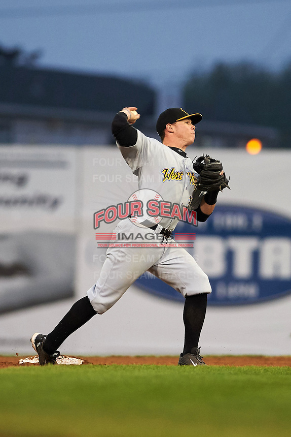 West Virginia Black Bears second baseman Mitchell Tolman (37) throws to first during a game against the Batavia Muckdogs on August 31, 2015 at Dwyer Stadium in Batavia, New York.  Batavia defeated West Virginia 5-4.  (Mike Janes/Four Seam Images)