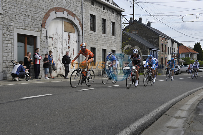 The breakaway group pass through Awan during the 95th running of Liege-Bastogne-Liege cycle race, running 261km from Liege to Ans, Belgium. 26th April 2009 (Photo by Eoin Clarke/NEWSFILE)