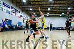 Daire Kennelly (14) Mercy Mounthawk in action against Darragh Broderick (13) CBS The Green U19 A Boys Subway Schools Cup semi final at Tralee Sports Complex on Thursday.