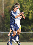 10 November 2007: Duke's Pavelid Castaneda (in blue) and NC State's Daniel Fish (behind) challenge for a header. The Duke University Blue Devils defeated the North Carolina State University Wolfpack 2-0 at Method Road Soccer Stadium in Raleigh, North Carolina in an Atlantic Coast Conference NCAA Division I Men's Soccer game.