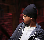 J. Quinton Johnson during the Q & A for The Rockefeller Foundation and The Gilder Lehrman Institute of American History sponsored High School student #EduHam matinee performance of 'Hamilton' at the Richard Rodgers Theatre on 2/15/2017 in New York City.
