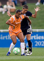 Washington Freedom defender (27) Ali Krieger stays close to Sky Blue FC midfielder (11) Rosana at the Maryland SoccerPlex in Boyds, Maryland.  The Washington Freedom defeated Sky Blue FC, 3-1, to secure a place in the playoffs.