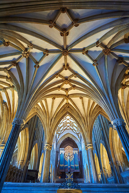 The interior and organ of the medieval Wells Cathedral built in the Early English Gothic style in 1175, Wells Somerset, England