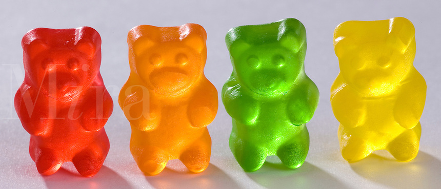 Gummi Bear Row with red,orange,green and yellow gummi bear