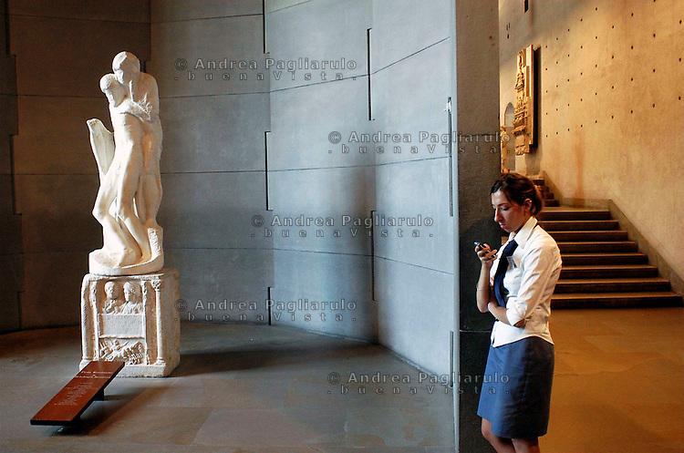 Milano, La Piet&agrave; Rondanini di Michelangelo al museo del Castello Sforzesco.<br /> Milan, Sforza's Castle museum. Michelangelo's Piet&agrave; Rondanini.