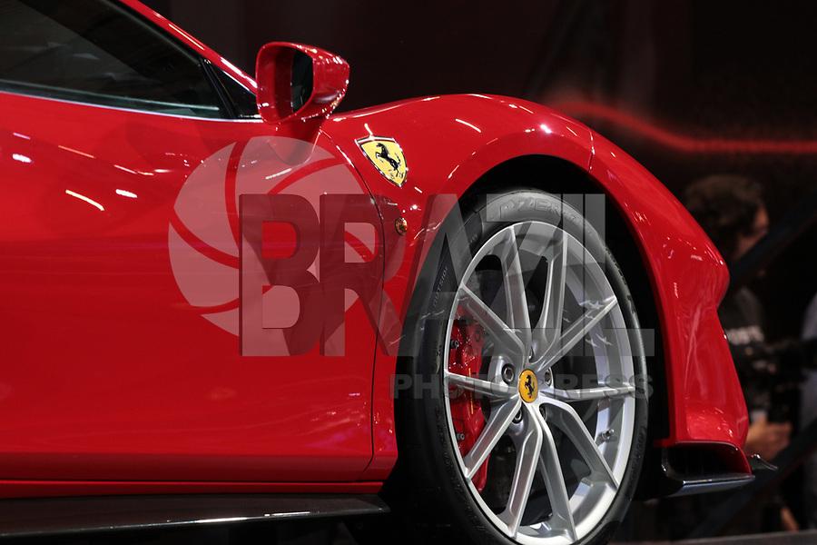 S&Atilde;O PAULO, 08.11.2018  - SALAO DO AUTOMOVEL  - Ferrari 488 Pista exposta na 30&ordf; edi&ccedil;&atilde;o do Sal&atilde;o do Autom&oacute;vel nesta quarta-feira (08) no S&atilde;o Paulo Expo, zona sul da capital paulista.<br /> <br /> (Foto: Fabricio Bomjardim / Brazil Photo Press)