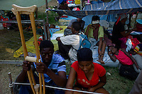 Carrefour, Haiti, Jan 18 2010.The U N World Food Programme is gearing up food distribution, today the objective is to reach 95 000 benefieciaries; it is estimated that more than 2 millions need emergency food help for the next 6 months. This particular distribution is handled by ADRA, a German NGO based in the Adventist University campus in Carrefour..