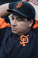 Guillermo Rodriguez of the San Francisco Giants during batting practice before a game from the 2007 season at Dodger Stadium in Los Angeles, California. (Larry Goren/Four Seam Images)