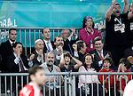 The President of the Region of Madrid (Comunidad de Madrid) Igancio Gonzalez; the Minister of Education, Culture and Sports Jose Ignacio Wert, Prince Felipe of Spain; Juan de Dios Roman, President of the Spanish Handball Federation and the Secretary of Sports (Secretario de Estado para el Deporte) Miguel Cardenal celebrate during 23rd Men's Handball World Championship preliminary round match Hungary v Spain.January 17,2013. (ALTERPHOTOS/Acero)