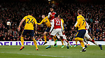 Alexandre Lacazette of Arsenal heads the first goal during the Europa League Semi Final 1st Leg, match at the Emirates Stadium, London. Picture date: 26th April 2018. Picture credit should read: David Klein/Sportimage