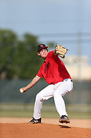 Dylan Simmons (20) of Trinity Christian Academy in Jacksonville, Florida during the Under Armour Baseball Factory National Showcase, Florida, presented by Baseball Factory on June 12, 2018 the Joe DiMaggio Sports Complex in Clearwater, Florida.  (Nathan Ray/Four Seam Images)