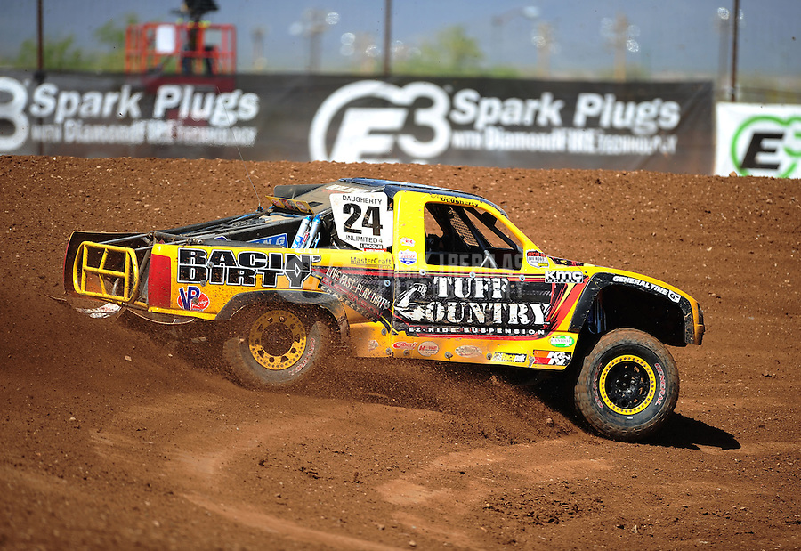 Apr 15, 2011; Surprise, AZ USA; LOORRS driver Aaron Daugherty (24) during round 3 and 4 at Speedworld Off Road Park. Mandatory Credit: Mark J. Rebilas-.
