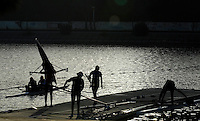 Seville. SPAIN, 16.02.2007. Crews'  training and boating at the Seville Training Centre, preparing for the weekend - FISA Team Cup [Photo Peter Spurrier/Intersprt Images]    [Mandatory Credit, Peter Spurier/ Intersport Images].   [Mandatory Credit, Peter Spurier/ Intersport Images]. , Rowing Course: Rio Guadalquiver Rowing Course, Seville, SPAIN, , Sunrise, Sunsets, Silhouettes
