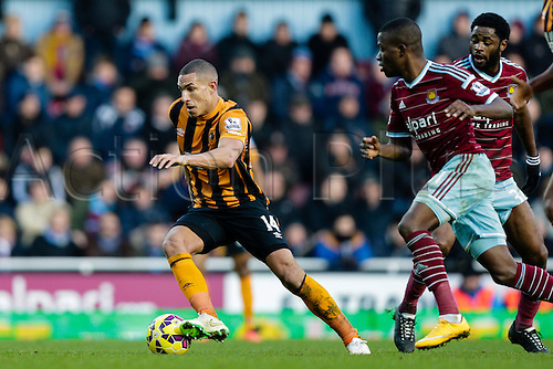 18.01.2015.  London, England. Barclays Premier League. West Ham versus Hull City.  Hull City's Jake Livermore in action