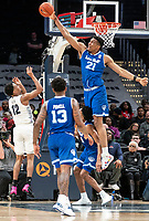 WASHINGTON, DC - FEBRUARY 05: Ike Ibiagu #21 of Seton Hall knocks down a shot by Terrell Allen #12 of Georgetown during a game between Seton Hall and Georgetown at Capital One Arena on February 05, 2020 in Washington, DC.