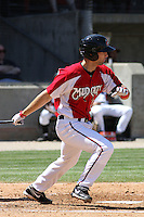 Brandon Yarbrough #15 of the Carolina Mudcats hitting during a game against the Montgomery Biscuits on April 18, 2010 in Zebulon, NC.