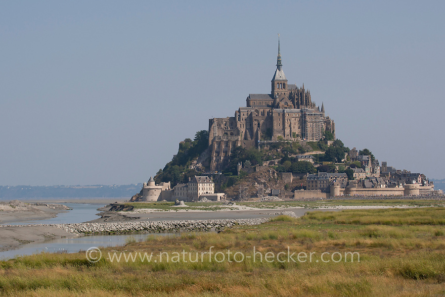 Le Mont-Saint-Michel, Mont Saint-Michel, Mont St-Michel, Mont-St-Michel, Wattenmeer, Watt, bei Ebbe, Normandie, Frankreich, Saint Michael's Mount, Normandy, France, waddensea